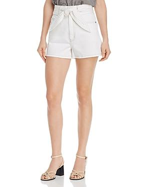 Joie Galenia Belted Denim Shorts In Porcelain