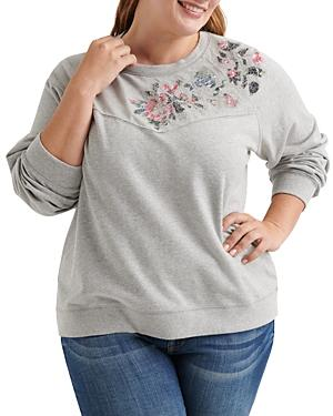 Lucky Brand Plus Floral Detail Sweatshirt