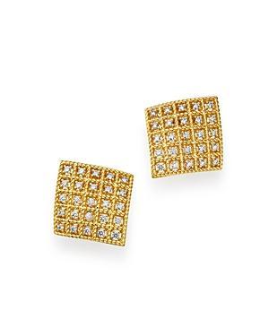 Roberto Coin 18k Yellow Gold Byzantine Barocco Diamond Square Earrings