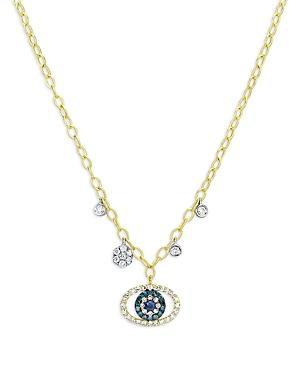 Meira T 14k Yellow And White Gold Evil Eye Charm Necklace With Blue And White Diamonds And Sapphires, 18