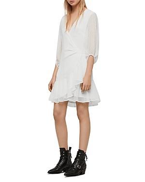 Allsaints Jade Swiss-dot Wrap Dress