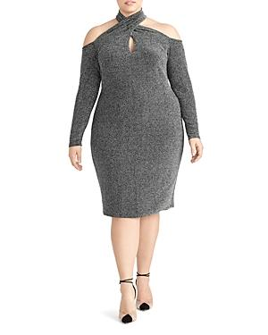 Rachel Roy Plus Simone Metallic Cold-shoulder Dress