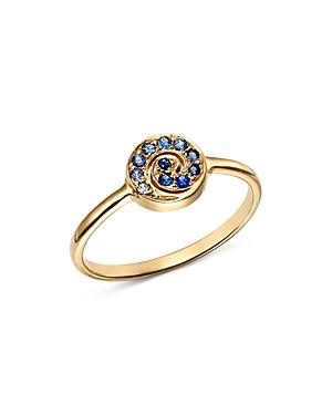 Shebee 14k Yellow Gold Ombre Sapphire Spiral Ring