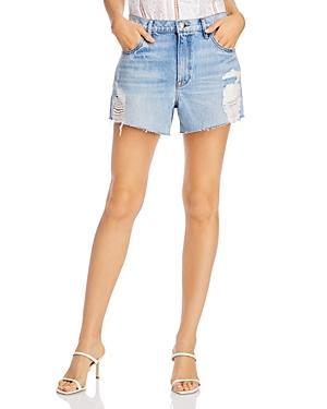 Frame Le Ultra Baggy Ripped Denim Shorts In Lomond Slash