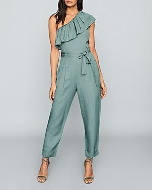 Reiss Madeline Ruffled One Shoulder Jumpsuit