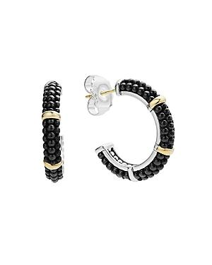 Lagos Black Caviar Ceramic 18k Gold And Sterling Silver 3 Station Hoop Earrings