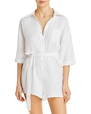 Vitamin A Playa Button Front Romper Swim Cover-up