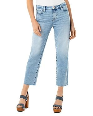 Liverpool Los Angeles Cropped Frayed-hem Straight Jeans In Dixie