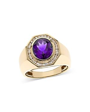 Bloomingdales Amethyst & Diamond Men's Ring In 14k Yellow Gold - 100% Exclusive