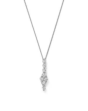 Bloomingdale's Diamond Cluster Drop Pendant Necklace In 14k White Gold, 0.50 Ct. T.w. - 100% Exclusive
