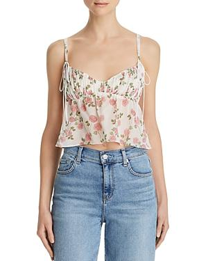 For Love & Lemons Biscotti Rose-print Cropped Cami