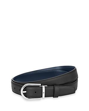 Montblanc Men's Horseshoe Palladium Reversible Leather Belt