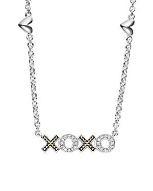 Lagos 18k Gold & Sterling Silver Beloved Xoxo Diamond Necklace, 16