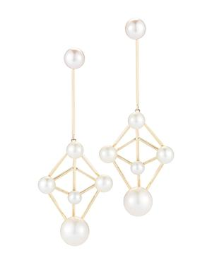 Mateo 14k Yellow Gold Cultured Freshwater Pearl Atomium Drop Earrings