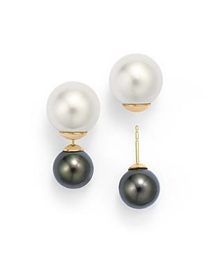Tara Pearls 14k Yellow Gold Natural Color Tahitian And White South Sea Cultured Pearl Front-back Stud Earrings