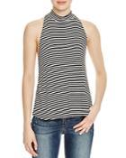 Aqua Striped Rib Knit Mock Neck Top