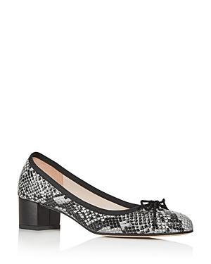 Paul Mayer Women's Perla Snake-embossed Block-heel Pumps