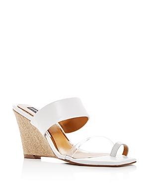 Jaggar Women's Wedged Leather Wedge Slide Sandals