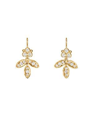 Temple St. Clair 18k Yellow Gold Foglia Diamond Drop Earrings