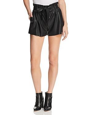 Aqua Paperbag-waist Faux Leather Shorts - 100% Exclusive
