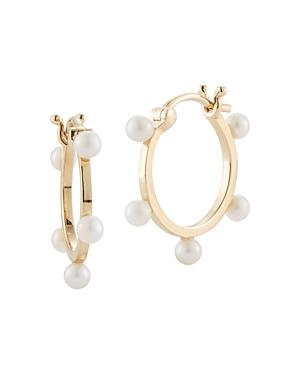 Mateo 14k Yellow Gold Small Pearl Dots Hoop Earrings