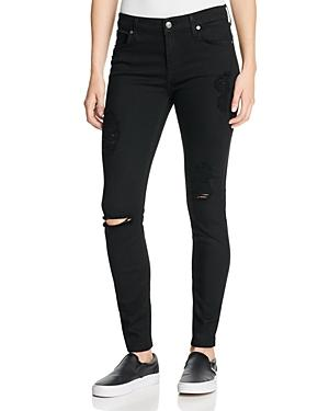 7 For All Mankind B(air) Destroyed Skinny Ankle Jeans In Black