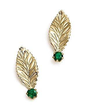 Emerald Leaf Earrings In 14k Yellow Gold - 100% Exclusive