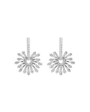 Hueb 18k White Gold Luminus Diamond Starburst Dangle Hoop Earrings