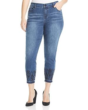 Liverpool Plus Abby Embroidered Ankle Jeans In Montauk Mid Blue