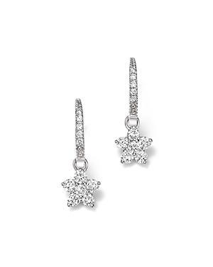 Diamond Flower Small Drop Earrings In 14k White Gold, .60 Ct. T.w. - 100% Exclusive