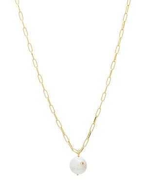Gorjana Reese 18k Gold-plated Cultured Freshwater Pearl Large Link Pendant Necklace, 18