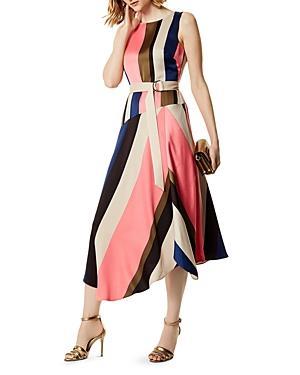 Karen Millen Asymmetric Striped Midi Dress