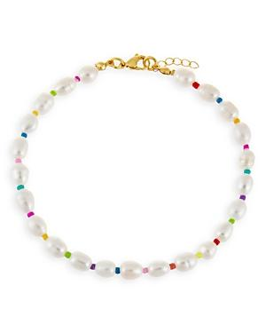 Adinas Jewels Neon Multicolor Bead & Freshwater Baroque Pearl Ankle Bracelet In Gold Tone
