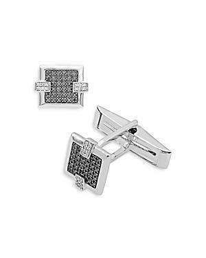 Bloomingdales Black & White Diamond Cufflinks In 14k White Gold - 100% Exclusive