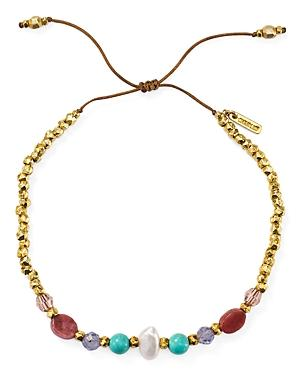 Chan Luu Multi-stone Adjustable Bracelet In 18k Gold-plated Sterling Silver