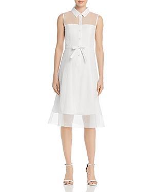 Paule Ka Organza-detail A-line Midi Dress