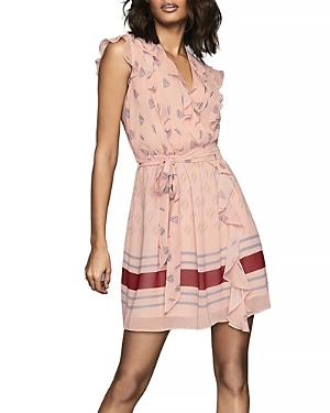 Reiss Stephanie Printed Ruffled Dress