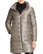 Herno Houndstooth Long Down Coat