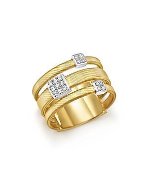 Marco Bicego 18k White And Yellow Gold Masai Three Row Pave Diamond Ring