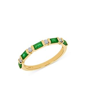 Bloomingdales Emerald & Diamond Stacking Band In 14k Yellow Gold - 100% Exclusive