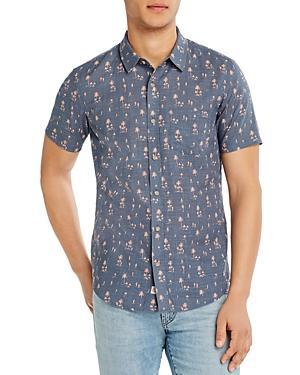 Marine Layer Cotton Tropical-print Slim Fit Button-down Shirt