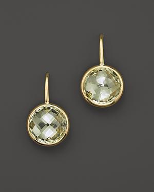 Green Amethyst Small Drop Earrings In 14k Yellow Gold