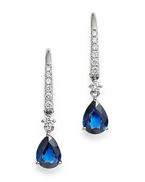 Bloomingdale's Blue Sapphire & Diamond Drop Earrings In 14k White Gold - 100% Exclusive