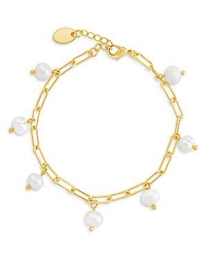 Sterling Forever Dangling Baroque Pearl Bracelet