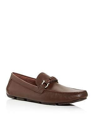 Salvatore Ferragamo Men's Stuart Braided Leather Moc-toe Drivers