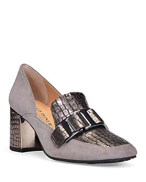 Donald Pliner Women's Caress Metallic Embossed Leather & Suede Dress Loafers