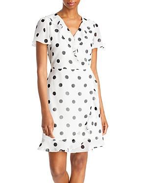 Karl Lagerfeld Paris Polka Dot Faux Wrap Dress