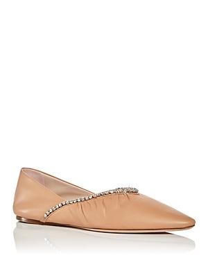 Miu Miu Embellished Pointed Toe Flats