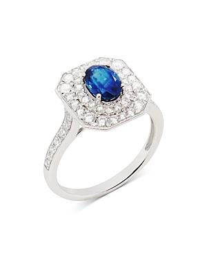 Bloomingdale's Sapphire & Diamond Halo Ring In 14k White Gold - 100% Exclusive