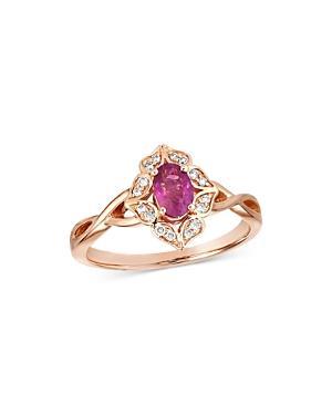 Bloomingdale's Ruby & Diamond Art Deco Ring In 14k Rose Gold - 100% Exclusive